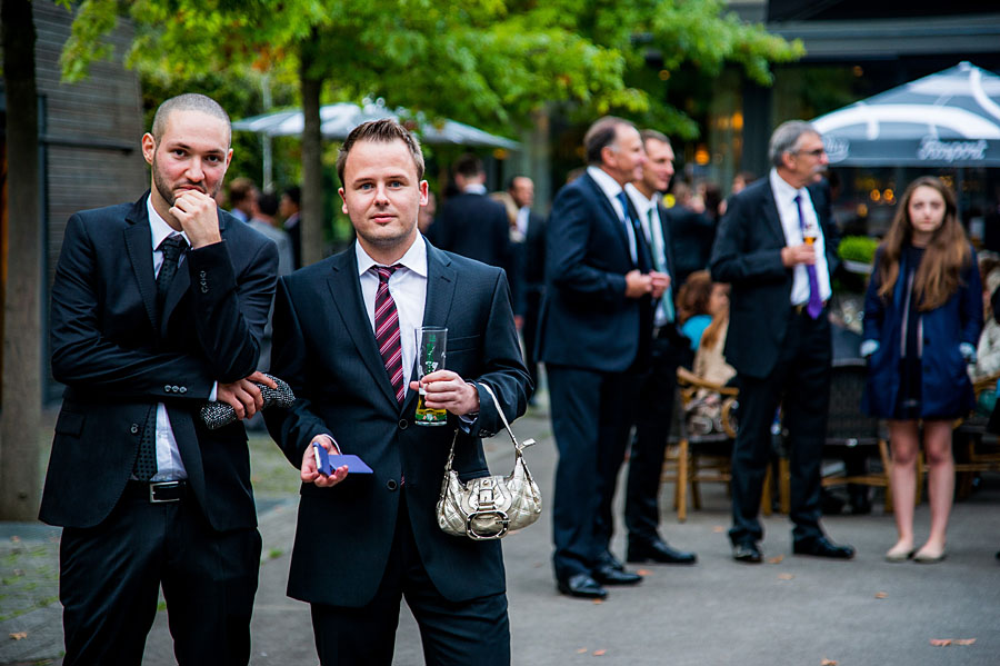 Mens on a wedding near Luxembourg getting crazy
