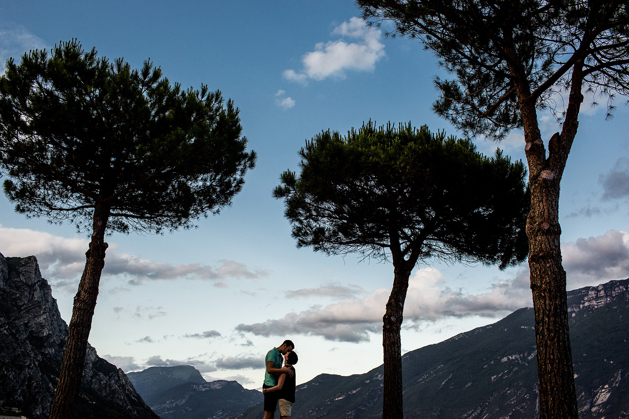 Gardasee, Mountains, Kiss, in love, couple, Lago di garda