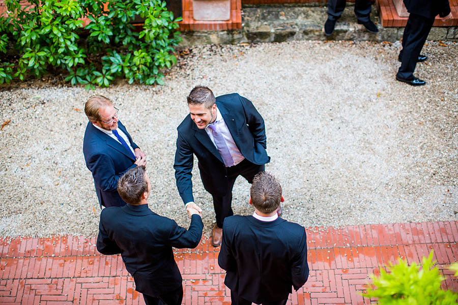 groomsmen outside in la celle abbaye