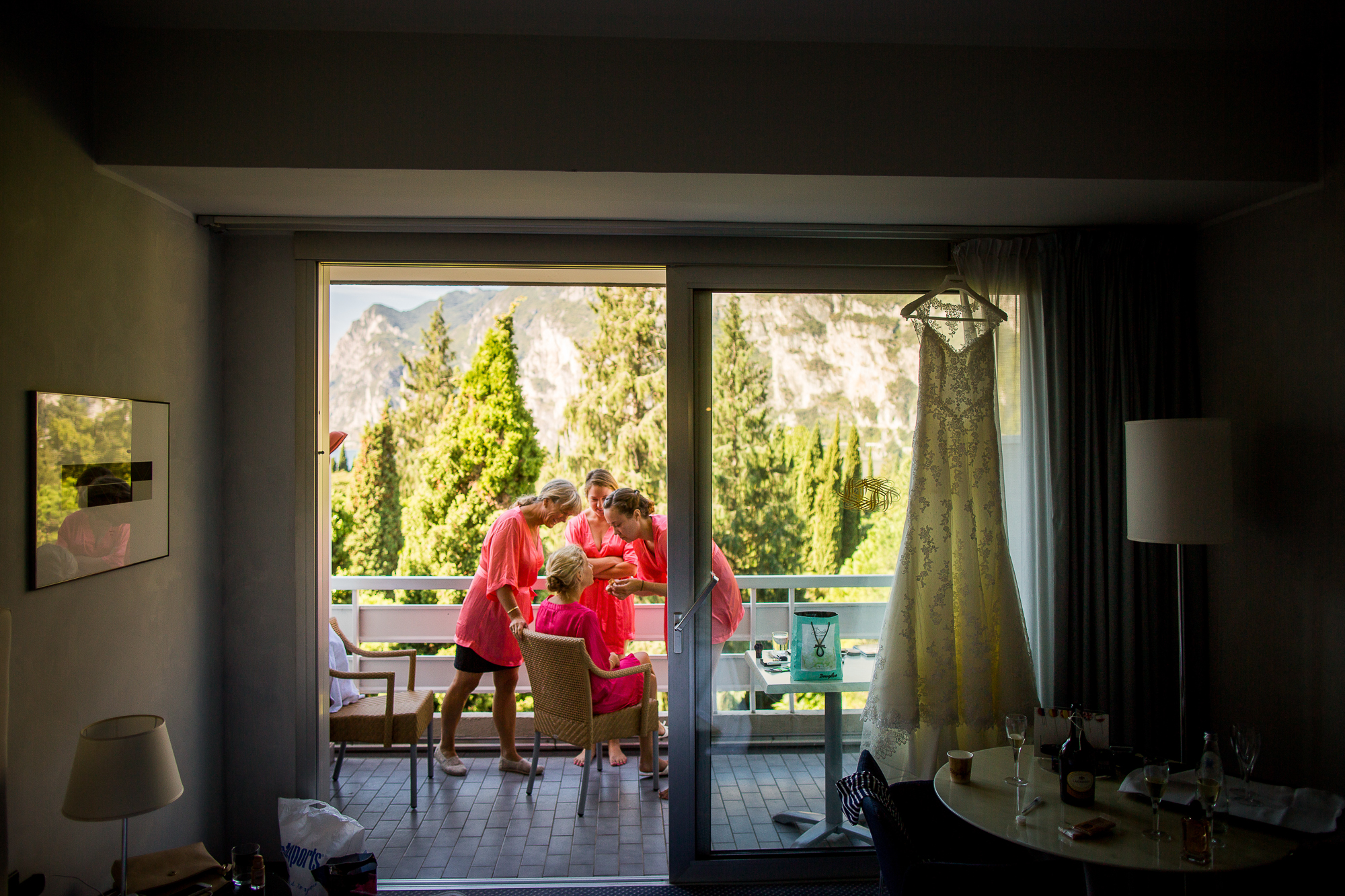getting ready, lago di garda, hotel, victorias secret robe, wedding day,